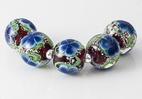 Dark Pink and Blue Flower Beads