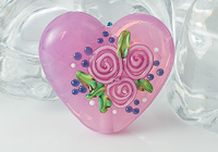 Pink Rose Heart Lampwork Bead