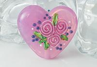 Pink Rose Heart Lampwork Bead