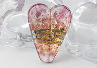 Pink Glittery Heart Lampwork Bead