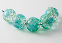 Turquoise Glittery Flower Beads
