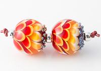 Red Lampwork Dahlia Beads