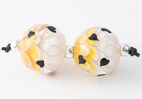 Heart Lampwork Dahlia Beads