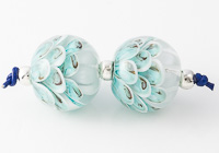 Turquoise Lampwork Dahlia Beads