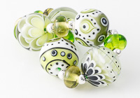 Green Graphics Lampwork Bead Set