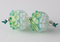 Pale Green Lampwork Dahlia Bead Pair