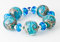 Blue Swirly Lampwork Beads