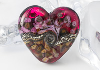 Pink Heart Lampwork Bead