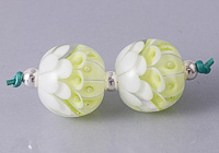 Lime Green Lampwork Dahlia Bead Pair