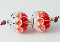 Red Lampwork Dahlia Bead Pair