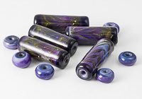 Purple Tube Lampwork Beads