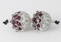Grey and Purple Lampwork Dahlia Bead Pair