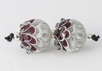 Grey and Purple Lampwork Dahlia Bead Pair