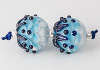 Turquoise Lampwork Dahlia Bead Pair