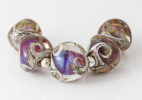 Silver Glass Nugget Lampwork Beads