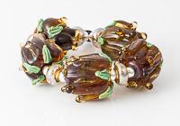 Amber Lampwork Rose Beads