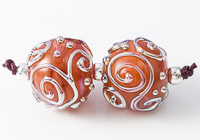 Golden Swirl Lampwork Beads