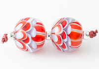 Red and Blue Dahlia Lampwork Beads