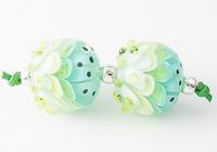 Spring Greens Dahlia Lampwork Beads