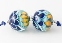 Blue Dahlia Lampwork Beads