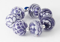 Purple and White Dahlia Beads