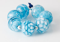 Turquoise and White Dahlia Beads