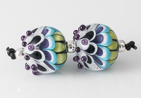Purple Lampwork Dahlia Bead Pair