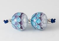 Purple Lampwork Dahlia Bead Pair