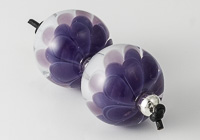 Purple Lampwork Dahlia Bead Pair alternative view 2