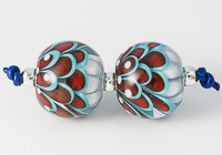 Turquoise and Red Lampwork Dahlia Bead Pair