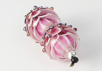 Pink Lampwork Dahlia Bead Pair alternative view 1