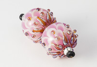 Pink Lampwork Dahlia Bead Pair alternative view 2