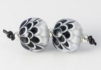Black and White Lampwork Dahlia Bead Pair