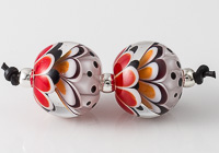 Red and Black Lampwork Dahlia Bead Pair
