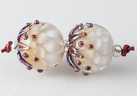Silver Glass Lampwork Dahlia Bead Pair