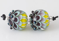 Multi-coloured Lampwork Dahlia Bead Pair