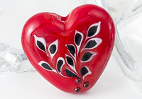 Red Heart Lampwork Bead