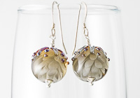 Grey Dahlia Lampwork Earrings