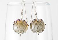 Grey Dahlia Lampwork Earrings