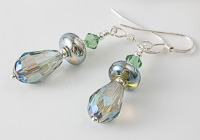 Sparkly Green Silver Earrings