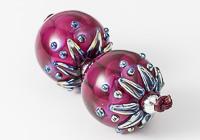 Dark Pink Dahlia Lampwork Beads alternative view 2
