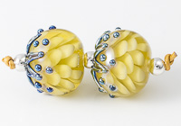 Dark Yellow Dahlia Lampwork Beads