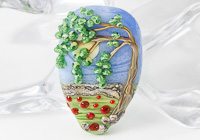 Poppy Field Tree Lampwork Bead
