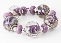 Purple Swirl Lampwork Beads