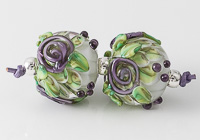 Purple Flower Lampwork Dahlia Bead Pair