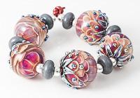 Bright Lampwork Dahlia Beads