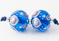 Turquoise Graphics Lampwork Beads