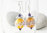 Purple Sunset Dahlia Lampwork Earrings