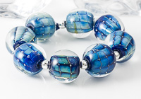 """Sappphira"" Silvered Glass Lampwork Beads"