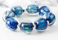 """""""Sappphira"""" Silvered Glass Lampwork Beads"""